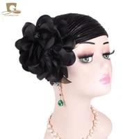 new women luxury flower ruffle metallic turban headband chemo cancer hair loss cap ladies head wraps hair accessories