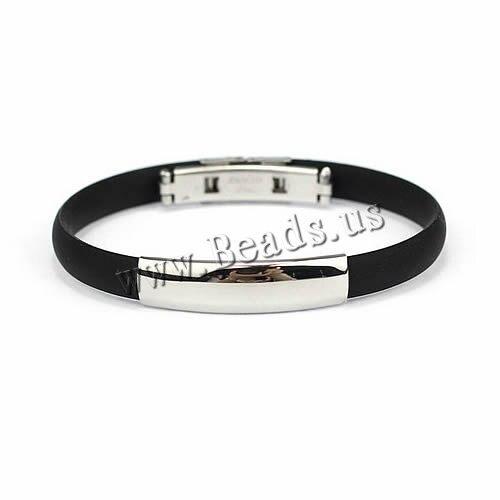 Atacado moda jóias silicone borracha homens braclet aço inoxidável preto pulseira legal jóias pulseira na moda pulseiras