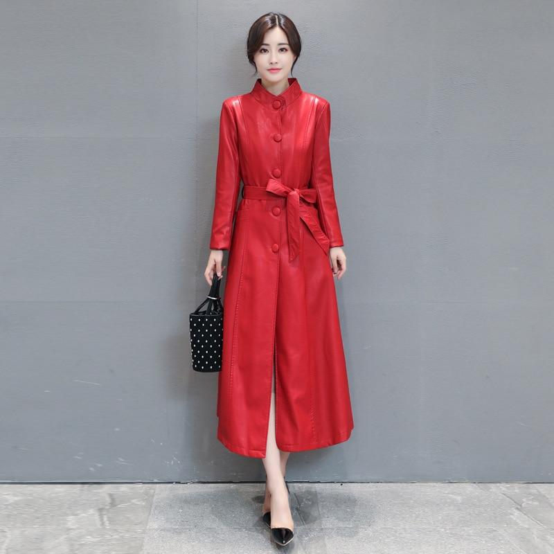 SWYIVY Women Autumn Winter Leather Jacket Coats PU Long Desgin 2018 New Female Fur Warm Jacket Slim Soft Woman Coat Big Size 5XL enlarge