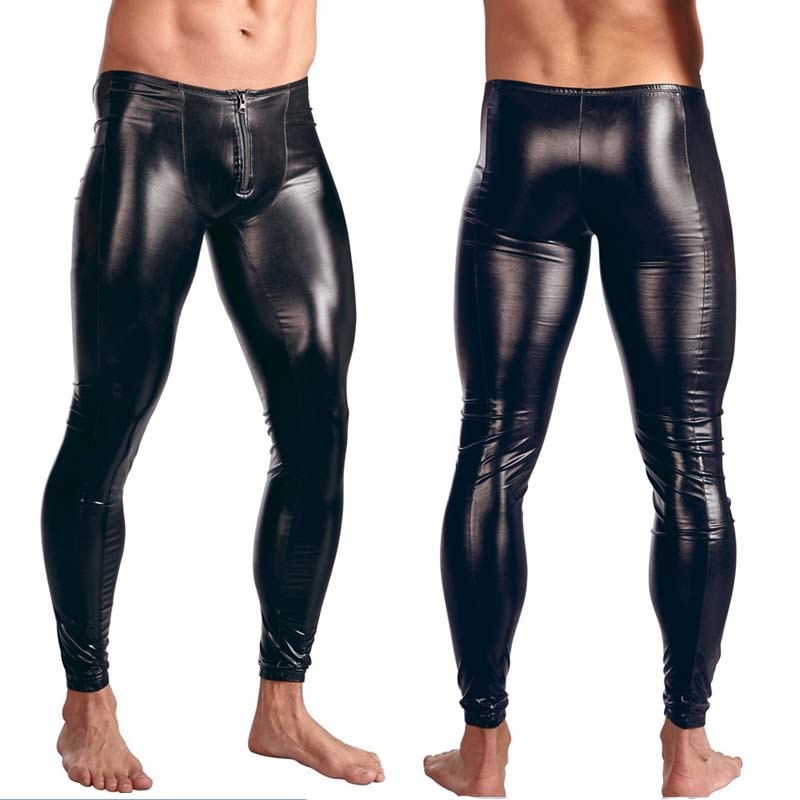 Mens Black Faux Patent Leather Pants Stage Skinny Performance Pants Stretch Leggings Men  Bodywear Trousers