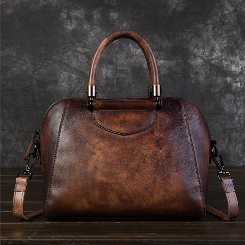 حقيبة يد نسائية من الجلد الطبيعي ، حقيبة كتف ريترو ذات سعة كبيرة ، حقيبة حمل من جلد البقر 100%