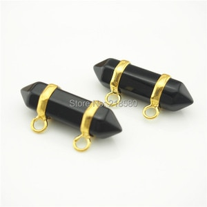 PM13287 Black Onyx Stone Double Terminated Point Pendant with  Gold Or Silver Electroplated Edging