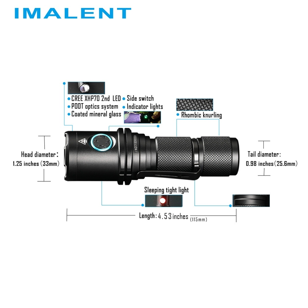 IMALENT DM70 Rechargeable Flashlight OLED Screen Max 4500LM Beam Distance 306 Meter Outdoor Torch with 21700 5000mAh Li Battery enlarge