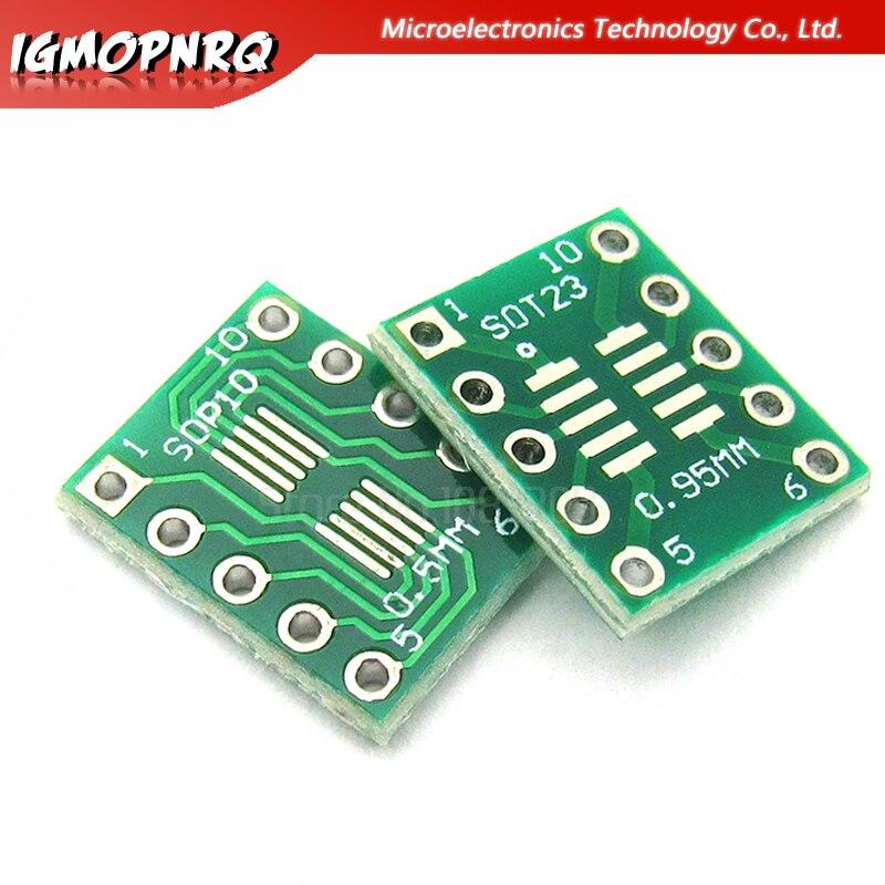 10 Uds SOT23 MSOP10 SOP10 UMAX a DIP10 adaptador de paso de placa de transferencia DIP Pin