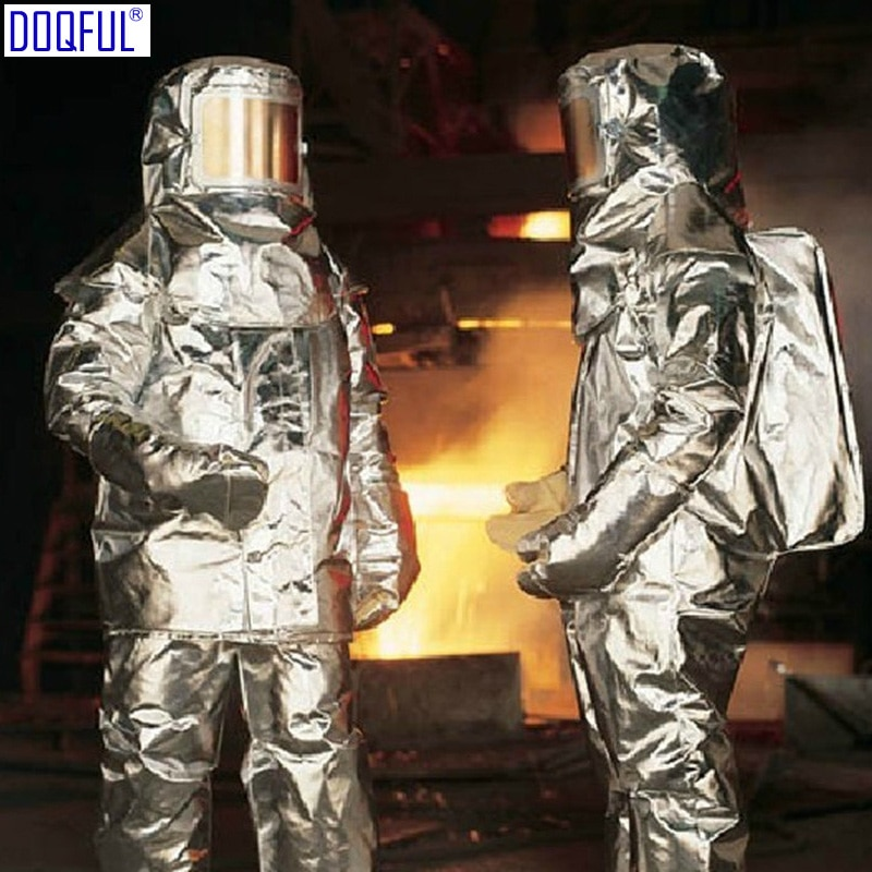 New 1000 Degree Thermal Radiation Heat Resistant Firefighter Uniform Aluminized Aircraft Rescue Fire Fighting Approach Suit aluminum foil clothing fire fighting suit fireman outside suit high tempreture protective clothes radiation proof clothes