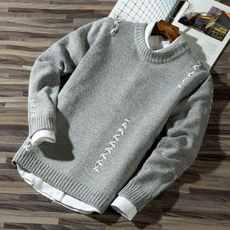 2018 Autumn Winter  long-sleeved men's sweater men's men's round collar solid color