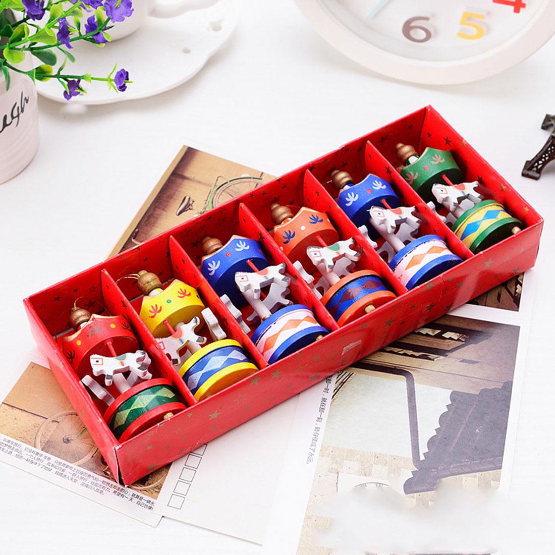 ¡Gran venta! carrusel de madera de Feliz Navidad, adornos de caballo, Mini bonitos juguetes de regalo de Navidad de madera para niños, regalos de Navidad de Año Nuevo