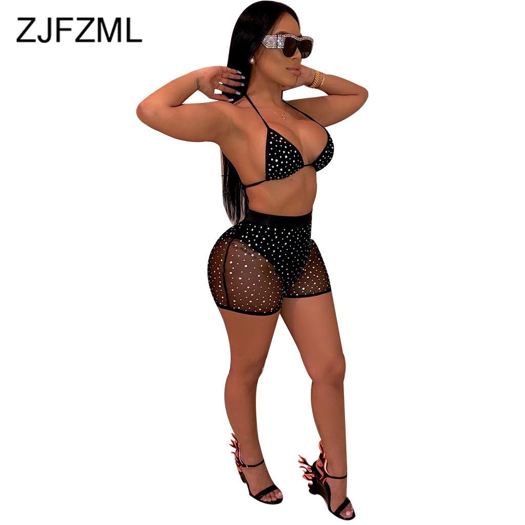 Conjunto de dos piezas para mujer, Top corto de malla de lentejuelas y empalme + pantalones cortos de motociclista, traje de chándal Sexy para playa, Fiesta en Club, conjunto de 2 piezas a juego