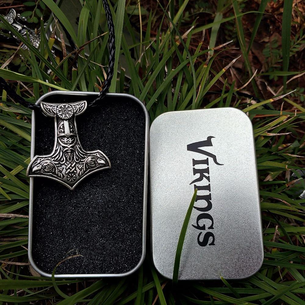 LANGHONG, colgante de amuleto nórdico Odín, collar nórdico Vikingo, martillo de Odín con colgante de cuervo y Vegvisir, collar de joyería