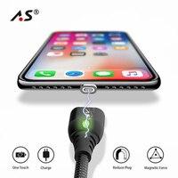A.S Магнитный кабель для iPhone X 8 7 проволочные заряжающие провода 3A Lightning/USB кабель для передачи данных для iPhone 6 6s 5 5s LED магнит зарядное устройст...