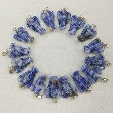 En gros 20 pcs/lot haut tendance qualité sculpté naturel sodalite pierre ange charmes pendentifs pour la fabrication de bijoux livraison gratuite