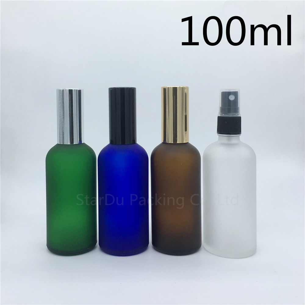 السفر زجاجة 100 مللي العنبر الأزرق الأخضر شفاف متجمد الزجاج زجاجة مع البخاخ ، 100cc زجاجة عطر رذاذ زجاجات 200 قطعة