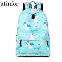 Unicorn Printing Backpack Women Waterproof kawaii Blue Book Bags Laptop Bagpack School Bag for Teenage Girls Mochila