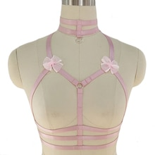 Conception originale col rose noeud harnais soutien gorge Kawaii poitrine ouverte Bondage corps Cage Pastel gothique corps harnais ceinture