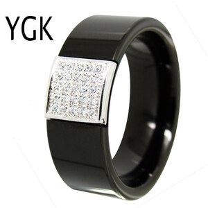 YGK Wedding Jewelry Black Pipe With fine Silver CZ Stone Inlay Tungsten Ring Bridegroom Wedding Engagement Anniversary Ring