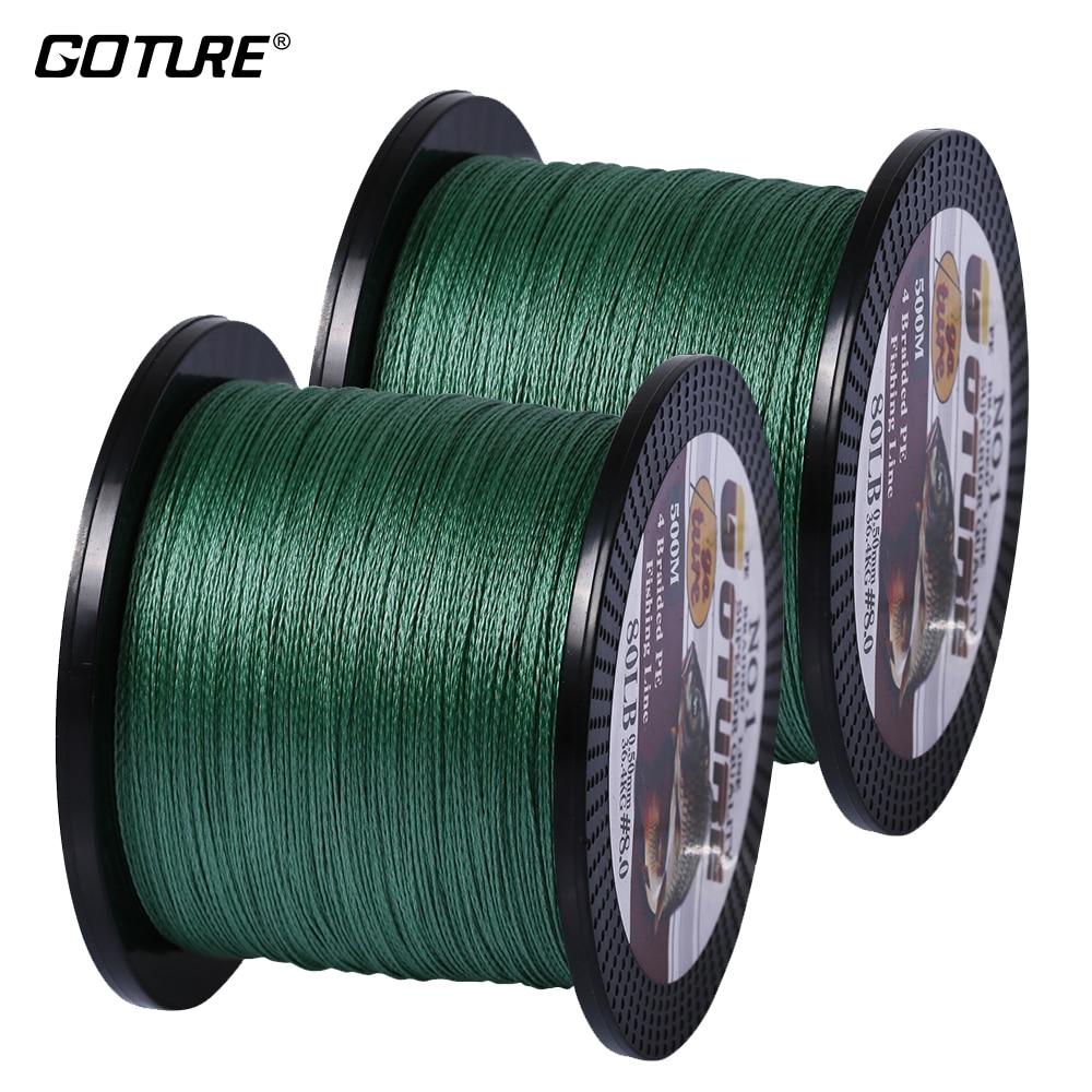 [Total 1000 m] Goture 2 pcs/lot Multifilament PE tressé ligne de pêche 500M 4 brins carpe ligne de pêche 12-80LB 5 couleur disponible