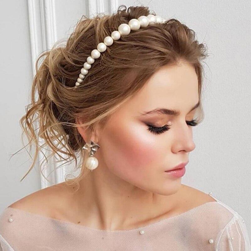 Celebridad perla pelo aros bisel mujeres diademas retro de moda diadema tamaño opcional accesorios para el cabello niñas