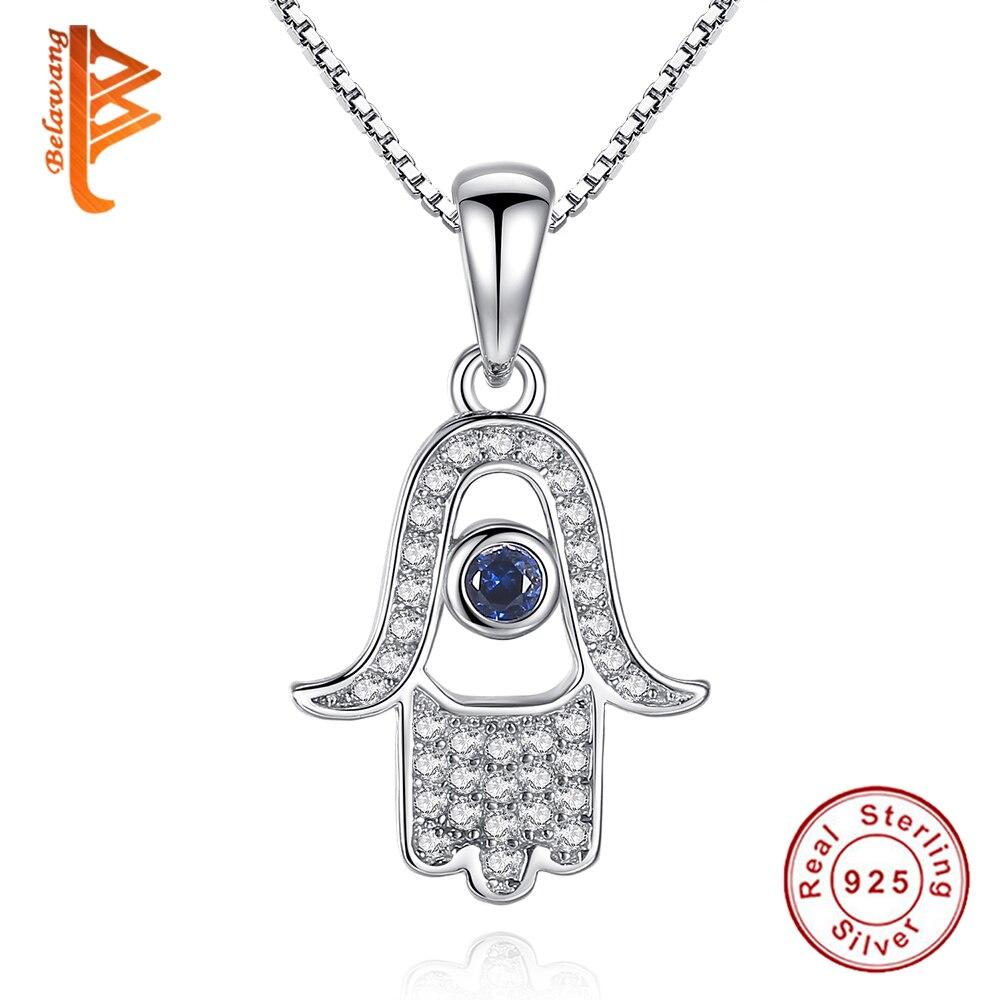 BELAWANG main de Fatima & oeil de chance pendentif collier 925 en argent Sterling cristal collier mode Palm Hamsa main femmes collier