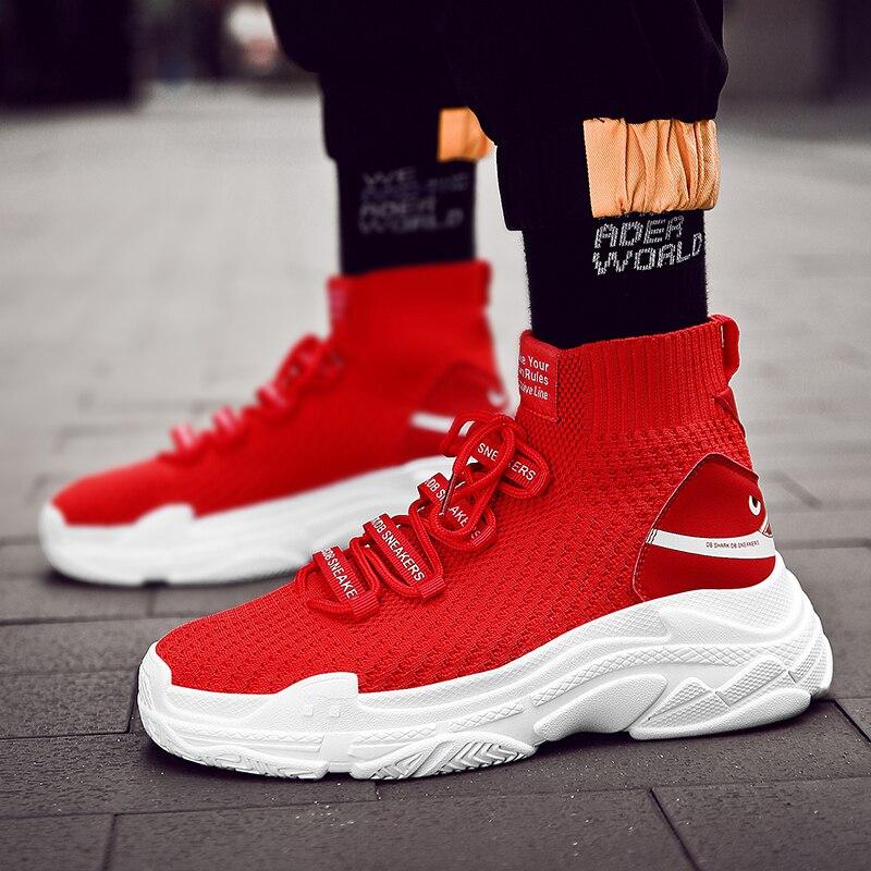 ¡Novedad! ¡venta al por mayor! Zapatillas de gran tamaño 47 de tiburón rojo, zapatillas Unisex de plataforma plana de alta calidad, calcetines informales para mujer, zapatillas gruesas para hombre