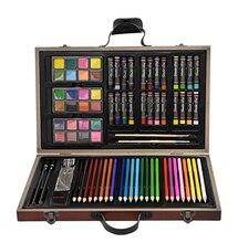 Bonne combinaison comme cadeau pour enfant avec crayon aquarelle crayon huileux aquarelle brosse emballée par paquet en bois