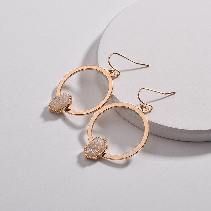 PAVE Oval Hexagon DRUZY Resin Quartz Dangle Drops Hook Earrings for Women