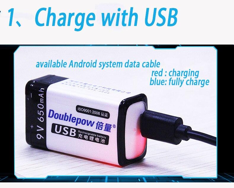 ¿1 Uds? 9V original Doublepow USB batería 6F22 9V 650 mAh MICRÓFONO INALÁMBRICO KTV herramienta con batería inteligente
