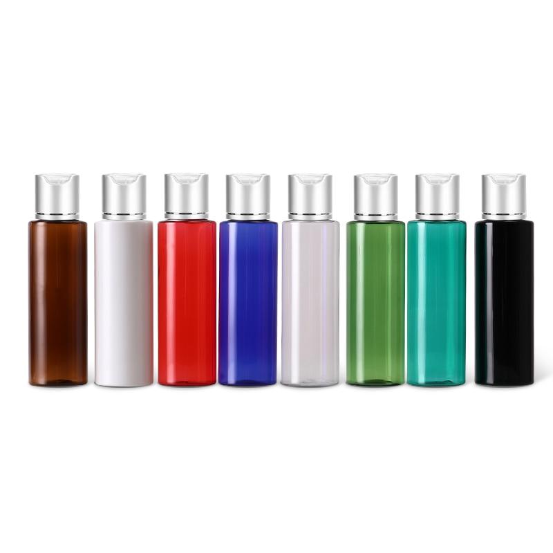 50pcs 100ml 120ml 150ml Empty Plastic Lotion Bottles Silver Aluminum Disc Top Cap Liquid Soap Travel