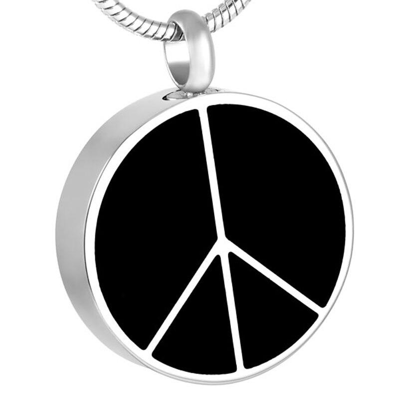 IJD8428 redondo con colgante con el signo de la paz joyería para recuerdo de cremación urna con cadena, embudo