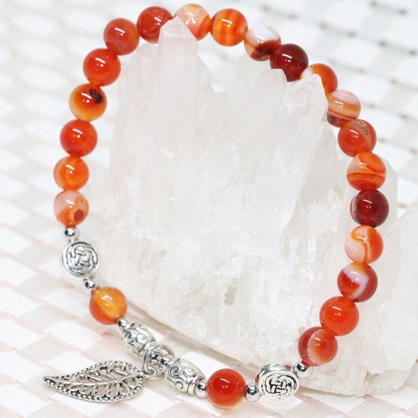 Hot sale natural Gouache agat onyx carnelian stone round beads 6mm women bracelet elegant gift charms jewelry 7.5inch B1921