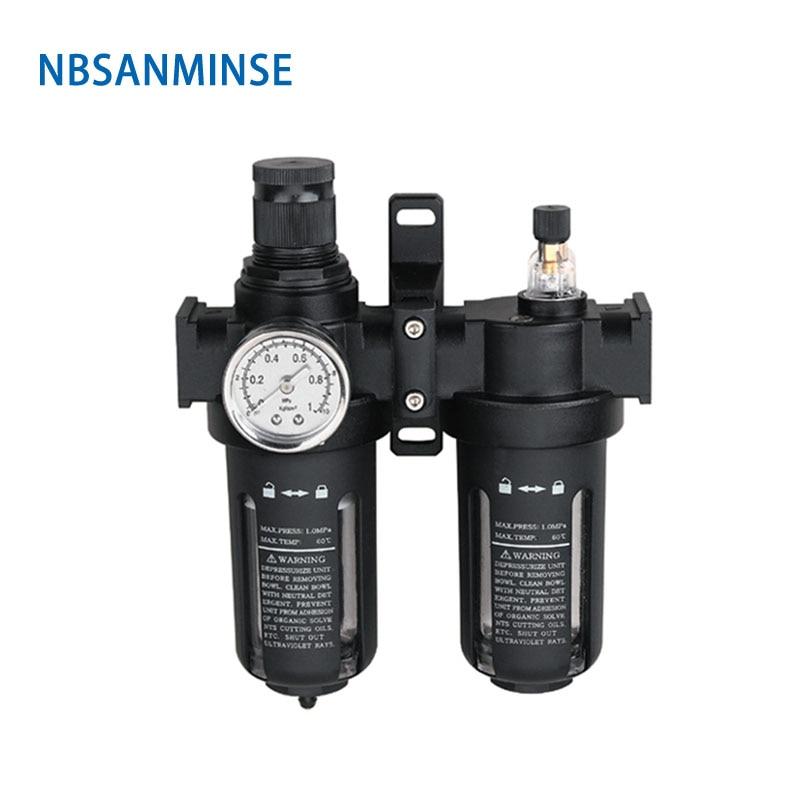 SFC200 1/4 3/8 1/2 Two Units Air Filter Regulator Lubricator Combinations Oil Water Air Separate FRL units NBSANMINSE