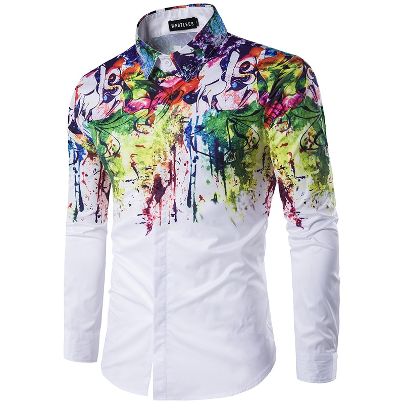 Men Shirt 2018 Fashion 3D Splash Ink Print Long Sleeve Dress Shirt Men Casual Shirts Male Wedding Party Shirt Camisa Social 3XL