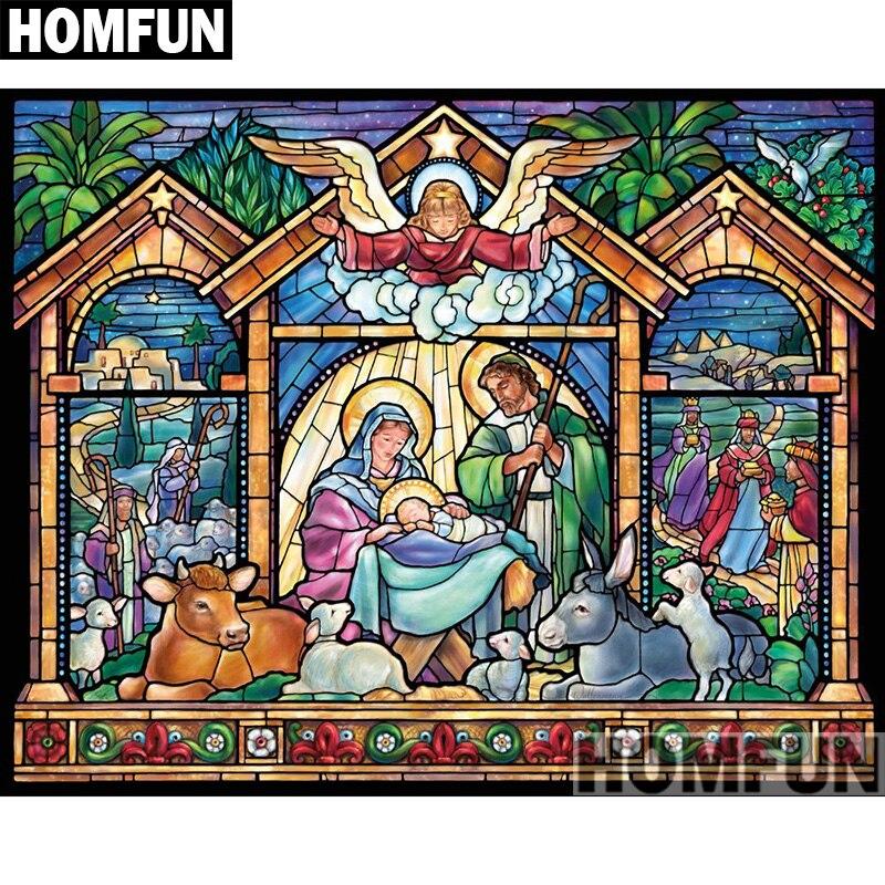 "HOMFUN Voll Platz/Runde Bohrer 5D DIY Diamant Malerei ""Nacht Göttlichen"" 3D Stickerei Kreuz Stich 5D Hause decor A00856"