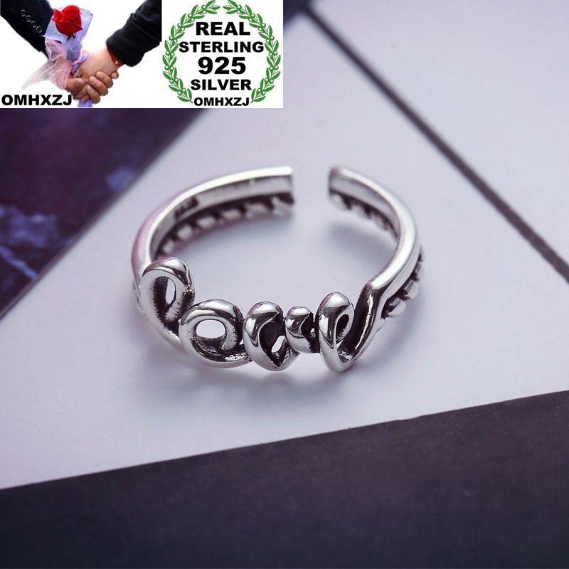 OMHXZJ al por mayor personalidad moda OL mujer chica fiesta boda regalo plata negro amor abierto S925 anillo de plata esterlina RN280