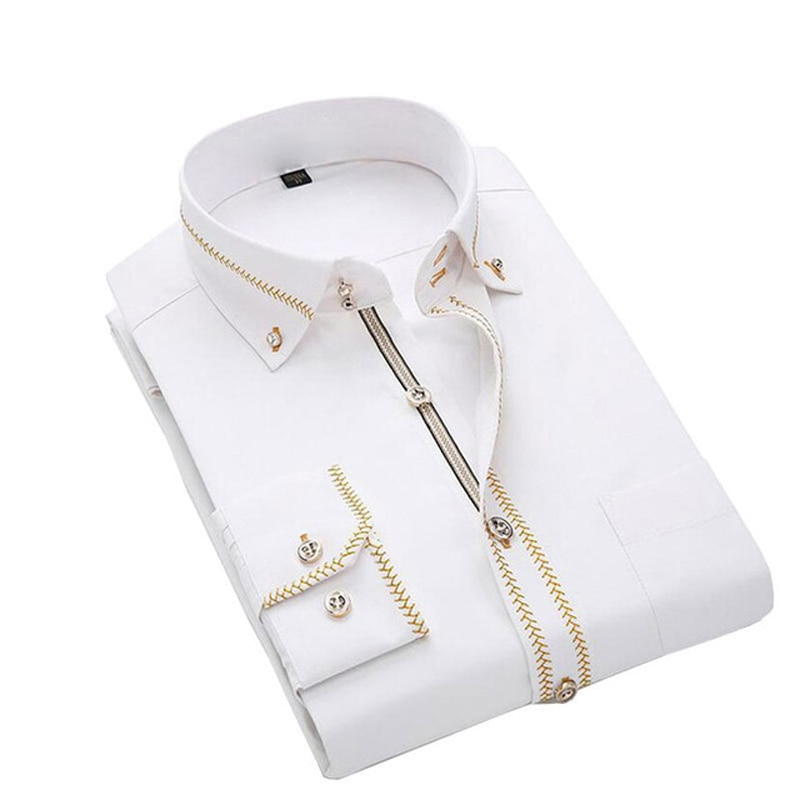 Jeetoo 2020 Мужская однотонная Тонкая Повседневная рубашка для свадьбы, деловая Мужская рубашка с длинным рукавом, деловые Блузы для работы, формальный мужской смокинг размера плюс