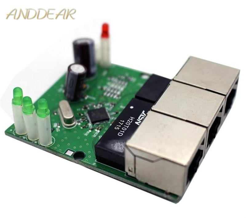OEM switch mini 3 port ethernet 10 / 100mbps rj45 network hub pcb module board for system integration