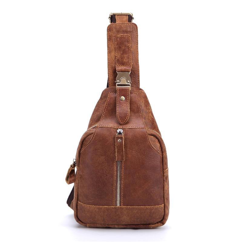 Nesitu Vintage marrón piel Real cuero genuino Casual hombro hombres bolsos de mensajero bolsa de pecho para hombre # M8101