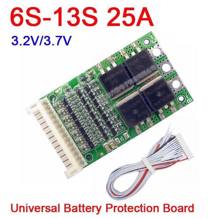 6S-13S 25A BMS LiFePO4 Bordo di protezione della batteria al litio Li-Ion 24V 36V 48V 7S 8S 10S 12S batterie per strumento elettrico ups AUTO