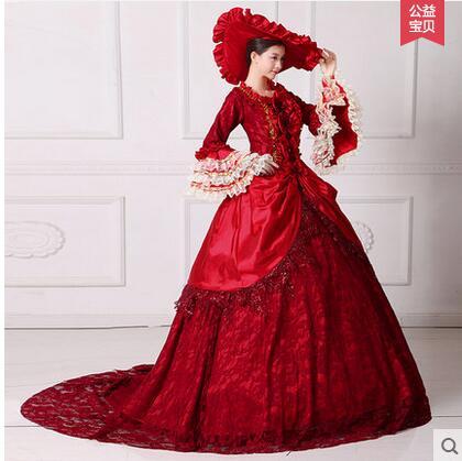 2017 vestido de corte aristocrático europeo, Color rojo oscuro, Reina, disfraz de Halloween, Vestido largo de fiesta para mujer