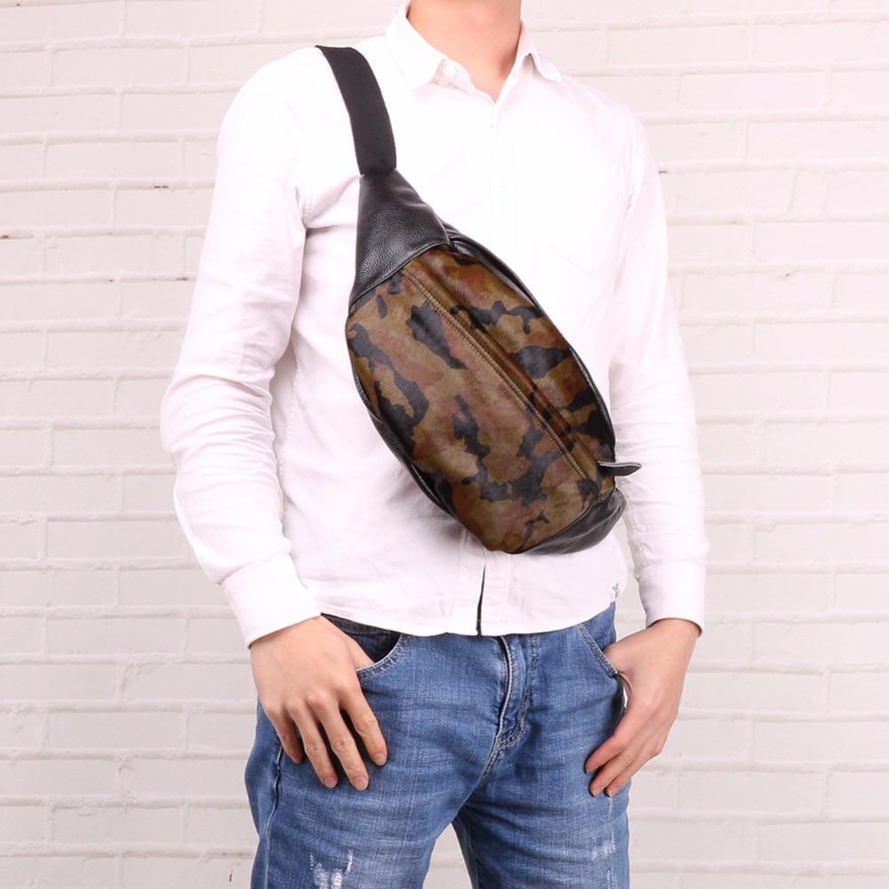 Homens de Peito de Couro Bolsa de Viagem Pacote de Peito para Homens Bolsa de Ombro Bolsa da Cintura do Vintage Genuíno Bolsa Crossbody Camuflagem Único