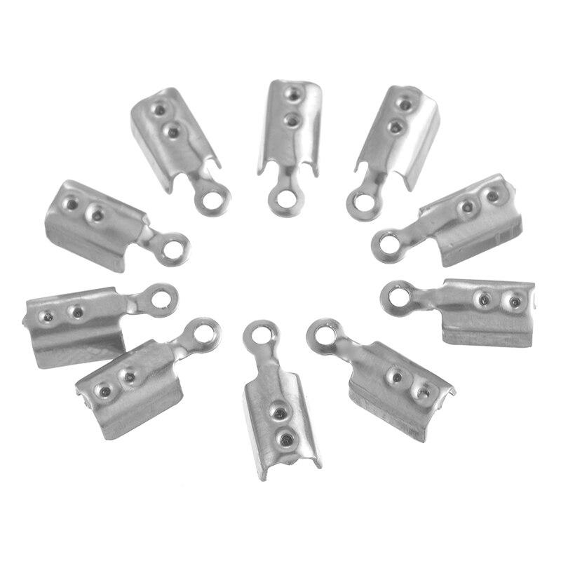 50 Uds 10/11mm cuerda de acero inoxidable cadena final tapas Collar para DIY joyería hallazgos hacer cadena cabeza artesanal agujero 1mm