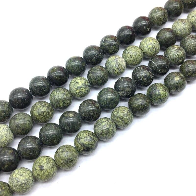 Serpentina russa natural pedra lisa redonda contas cordas 6 mm 8 mm 10 mm 12 mm para diy jóias fazendo
