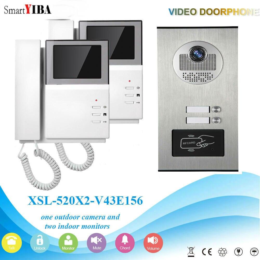 SmartYIBA-2 unités 4.3   Mains libres, immeuble dappartement, interphone vidéo, kit de sonnette de porte avec accès RFID, caméra de porte