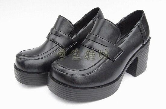 أحذية موحدة لطلاب المدارس اليابانية من Biamoxer أحذية Uwabaki JK بأصابع مستديرة أحذية نسائية قوطية للبنات أحذية لوليتا كوسبلاي ميد كعوب