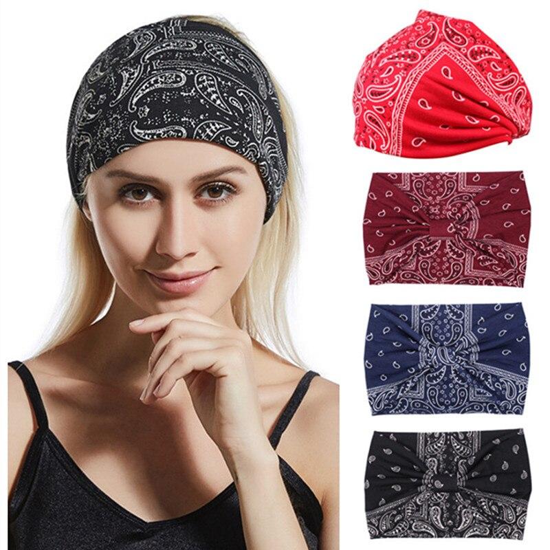 Cashew Flower Wide Headband for Women Cotton Solid Leopard Knot Hairbands Boho Turban Headwrap Bandana Girls Hair Accessories