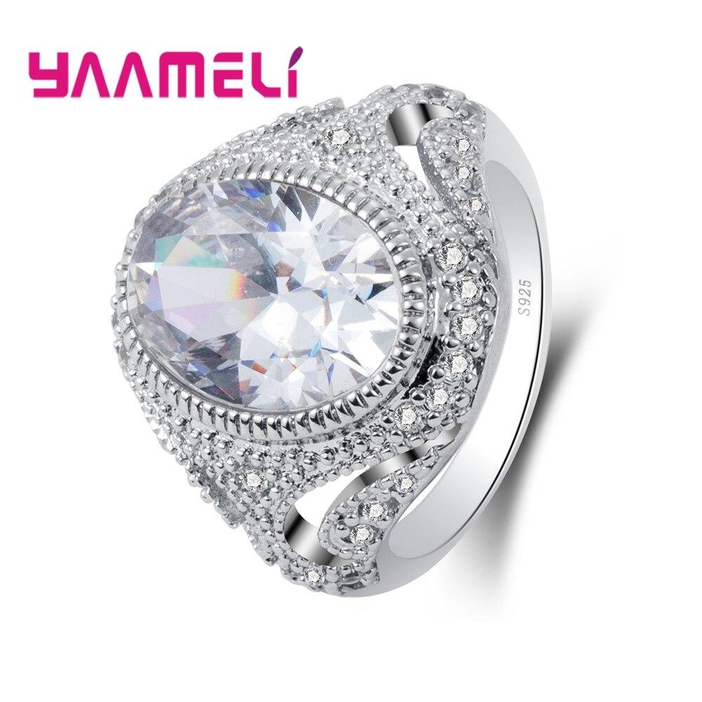 Clara Oval de cristal tienda Cubic Zirconia exquisita plata sólida 925 joyería para las mujeres mujer regalo anillo de dedo