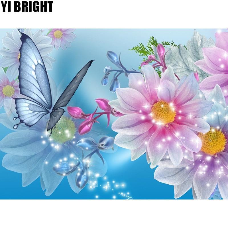 5D DIY diamante bordado mariposa en peonía diamante pintura punto de cruz cuadrado completo mosaico decorativo de diamantes de imitación para regalo