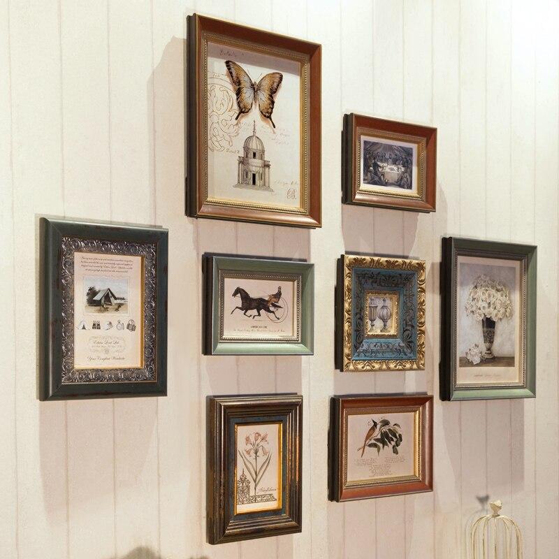 Luxus Solide Holz Geschnitzte Bilderrahmen 8 stücke Retro Stil Wand Hängen Bilderrahmen Qualität Rahmen für Home Decor Hochzeit geschenk