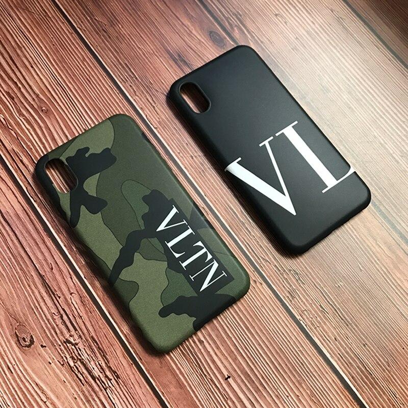 Marca de lujo de Italia VLTN camuflaje funda de silicona blanda para iPhone 6 De Apple S 7 7plus 8 8 X XR XS max 11 Pro teléfono coque