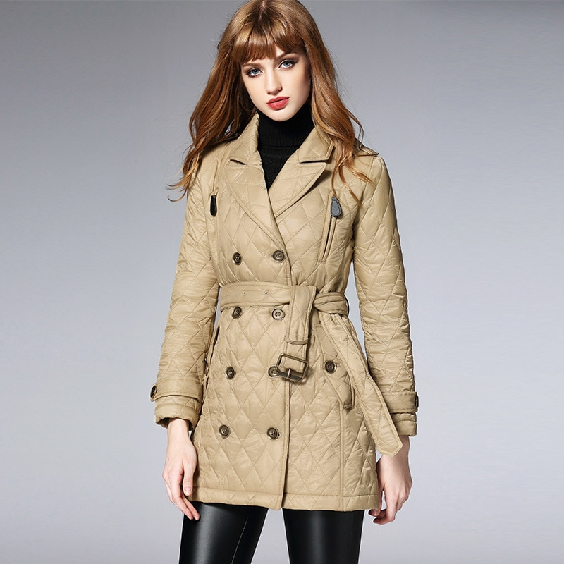 Clearance BURDULLY 2020 Spring Autumn Long Jacket Women Winter Coat Padded Cotton Jacket Outwear Warm Parka Womens Clothing