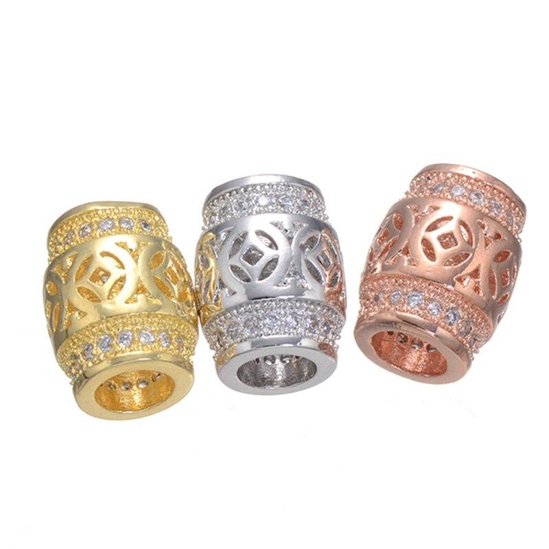 JUYA 1 Uds. De moda europea, cuentas de tubo de oro rosa,...